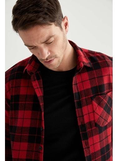 DeFacto Kareli Modern Fit Uzun Kollu Oduncu Gömlek Kırmızı